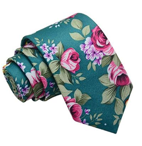 Corbata Estampada de Flores Vintage